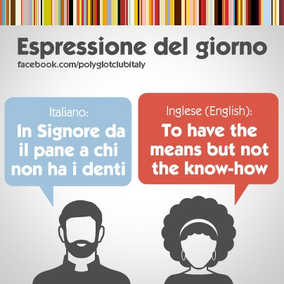 Italian / English idiom: to have the means but not the know-how