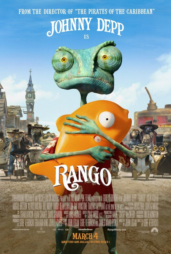 Directed by Gore Verbinski.  With Johnny Depp, Isla Fisher, Timothy Olyphant, Abigail Breslin. Rango is an ordinary chameleon who accidentally winds up in the town of Dirt, a lawless outpost in the Wild West in desperate need of a new sheriff.