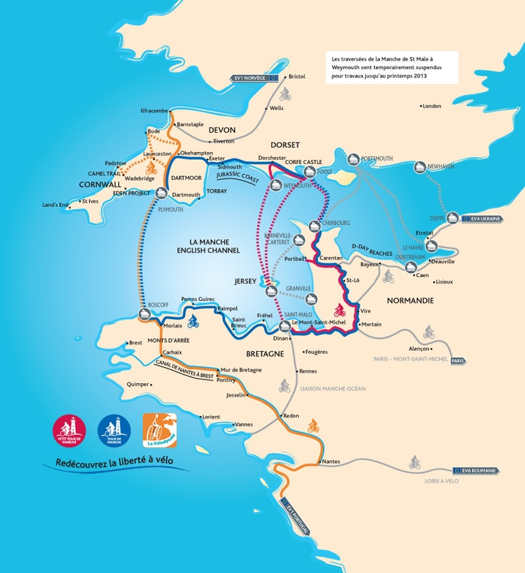 Trois nouveaux itinéraires cyclables en Bretagne, Normandie et le Sud Ouest de l'Angleterre