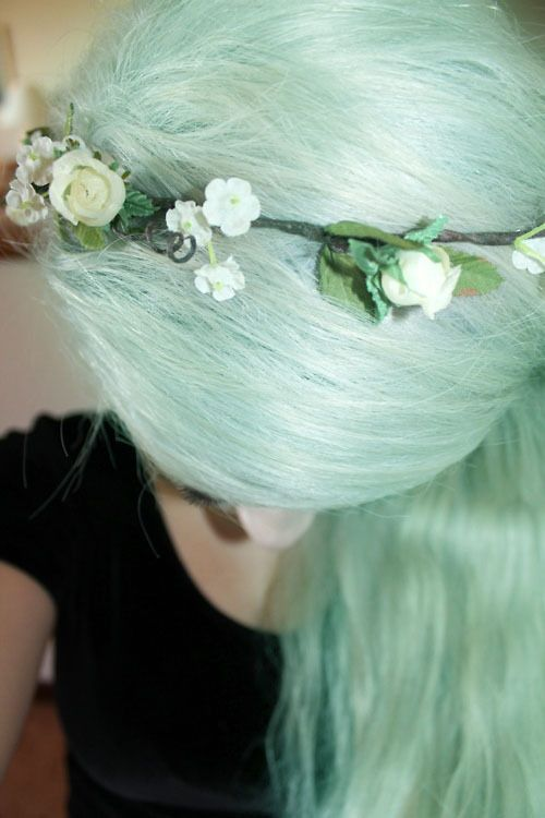 Pretty pastel mint green hair with flower crown. I'm going to do a streak of…