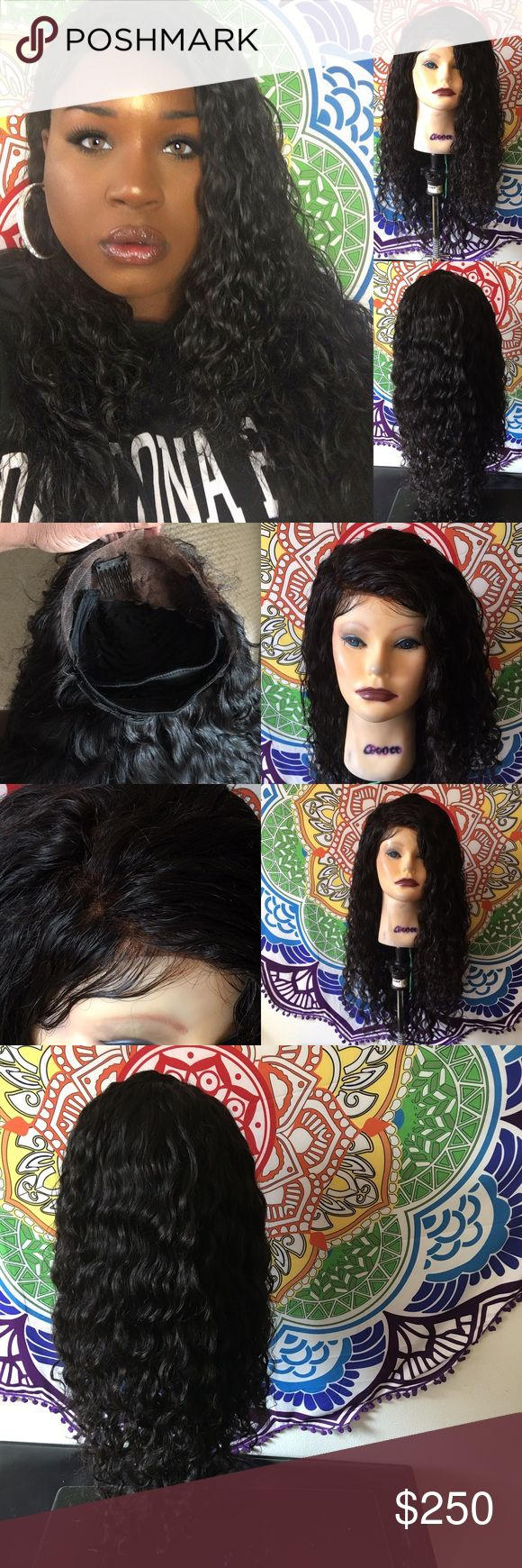 """Brazilian Water Wave Human Hair Wig With Frontal Brazilian Water wave human hair 18"""" inch ear to ear lace frontal with baby hair 3 bundles 22"""", 24"""", 24"""" I custom made this wig on a spandex dome cap. Wig has 2 combs in the front and a elastic band for a secure fit.  Hair can be worn in the wet and wavy style or can be worn in its natural state. Very soft and pretty. Ends have been trimmed.  The knots on the frontal have been bleached. Sorry I do not hold items or do trades. Shipping timeframe…"""