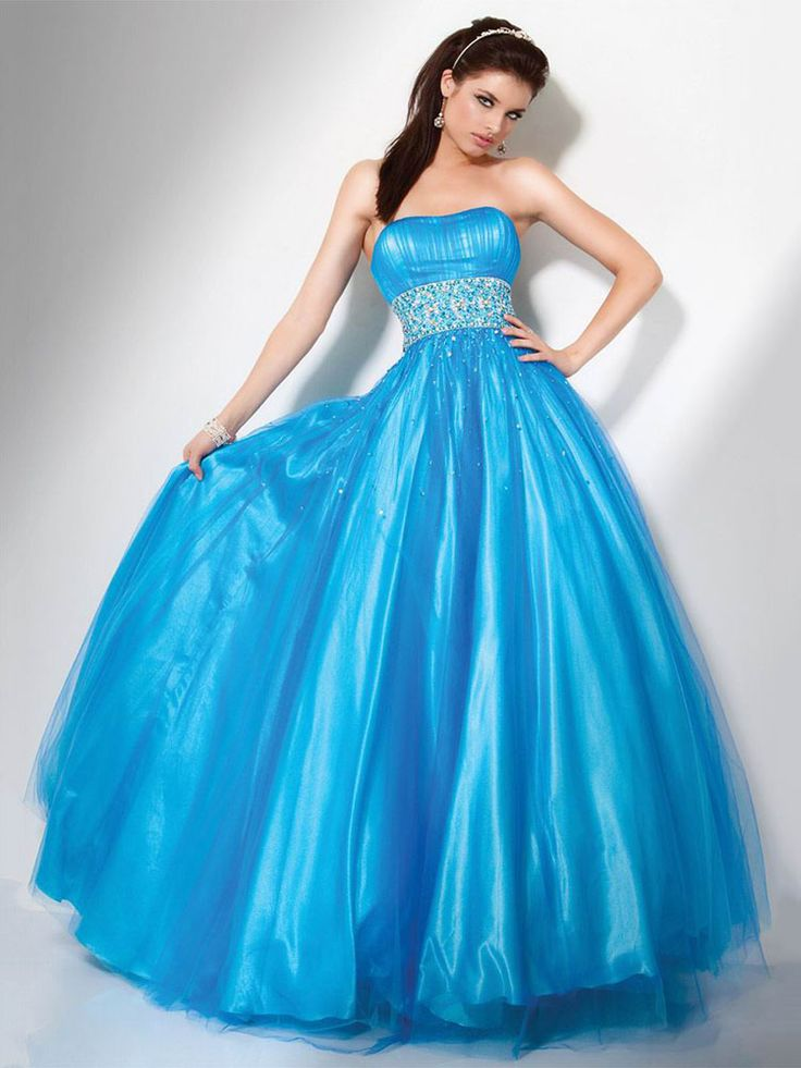 Ball Gown Strapless Tulle,Satin Floor-length Sleeveless Rhinestone Quinceanera Dresses at pickedlooks.com