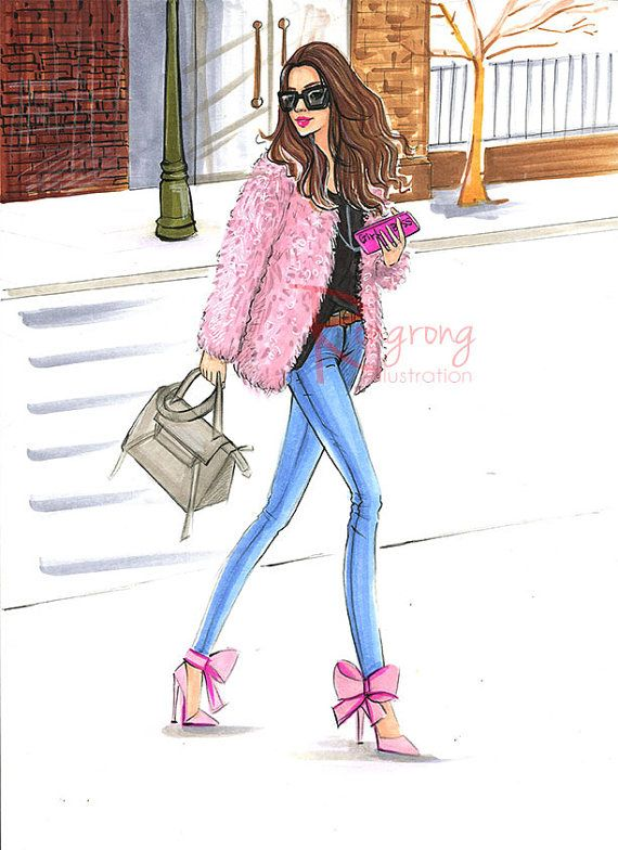 Rosa de ilustración de moda arte de la pared de moda blogger