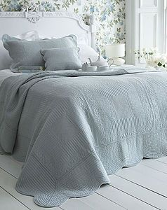 Duck Egg Blue French Style Quilted Bedspread - bedspreads  quilts