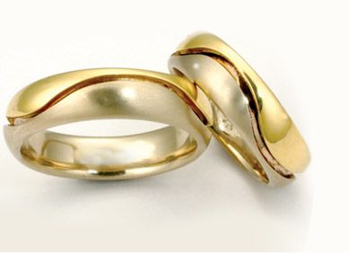 Textures #8: Union Wave bands two tone, 14k white and 18k yellow gold 5-8mm wide.