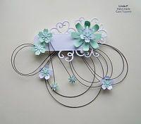 3D FLOWER & WIRE DESIGN CARD CRAFT TOPPER EMBELLISHMENT GEN 13-5 Green