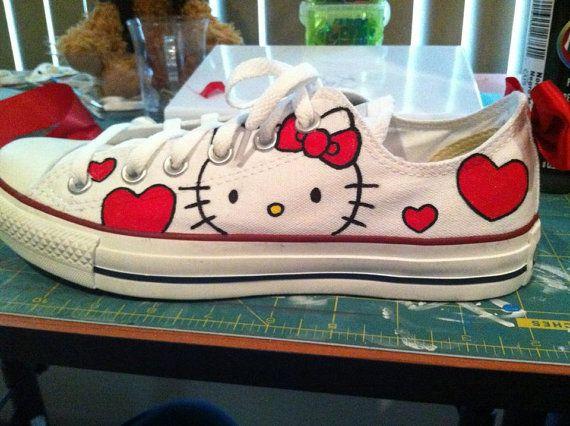 Hello Kitty: Hello Kitty Conver, Kitty Sneakers, Teacher Shoes, Conver Styles, Hello Kitty Clothing, Hello Kitty Shoes, Conver Shoes, Red Bows, Tennis Shoes