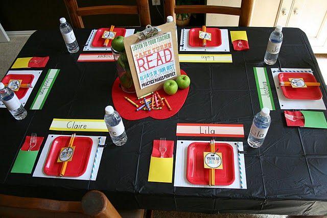 back to school party- teacher luncheon idea!  so cute: Tables Sets, Back To Schools, Schools Parties, Schools Breakfast, Schools Ideas, Parties Ideas, Breakfast Tables, 1St Day, Backtoschool