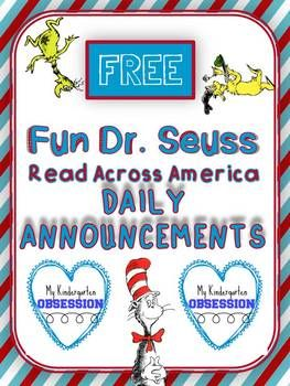 Dr. Seuss Read Across America Week Rhyming Morning Announc