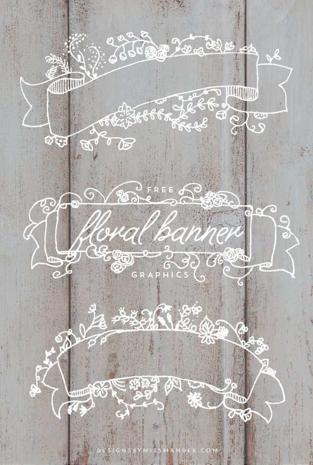 Free Floral Banner Graphics | Designs By Miss Mandee. So pretty! These would look so nice on a Christmas card, wedding invitation, or anything really. #lovely
