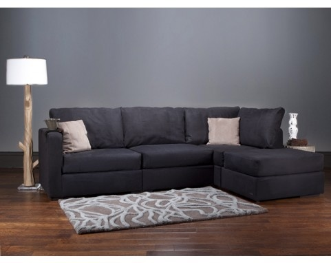 Four cushion chaise sectional with black herringsuede for Sectional sofas that come apart
