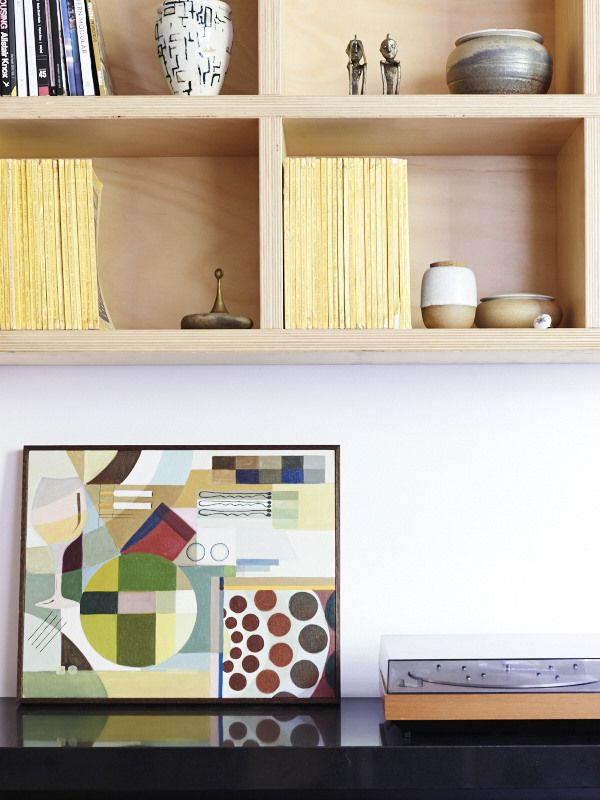 The study is used as a multi-purpose work and music room – tunes areplayed on Bill's Bang and Olfsen Beogram record player. Artwork by Eliz...
