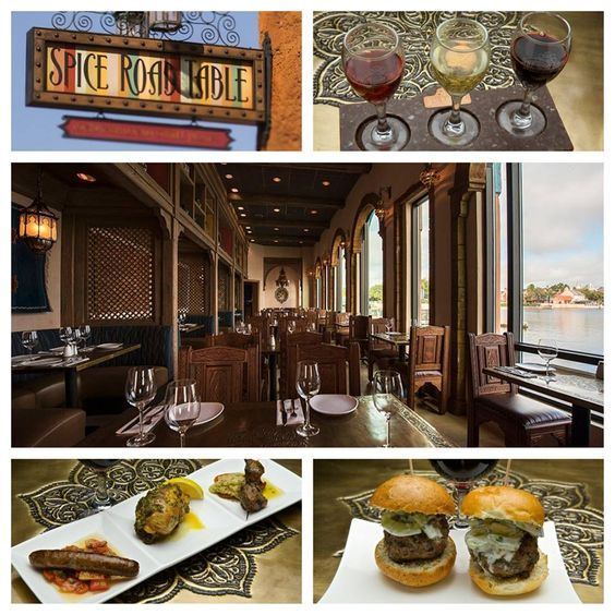 Spice Road Table, located at the Morocco pavilion, overlooks Epcot's World Showcase Lagoon and offers an array of regional small plates, specialty wines, beers and aperitifs inspired by Mediterranean cuisine. It also has wonderful views of the nightly fireworks show, IllumiNations!