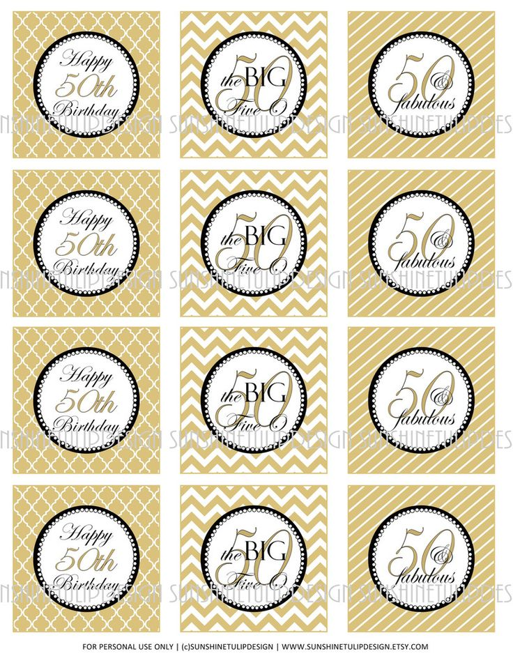Printable 50th Birthday Cupcake Toppers Sticker Labels