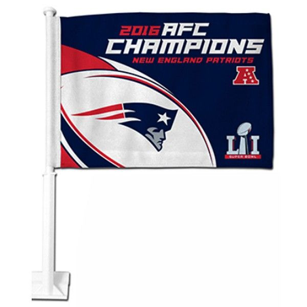 New England Patriots 2016 AFC Champs Car Flag is double sided printed with New England Patriots logos. Our 2016 AFC Champs Car Flags measure 12x15...