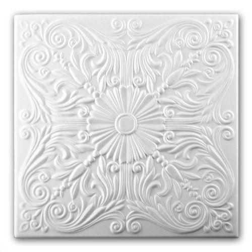 Panneaux De Dalles De Plafond En Mousse De Polystyrène 0876 (Paquet de 104 pcs / 26 m2) Blancs: QUALITÉ PREMIUM, TAILLE DE DALLE : 500 x…