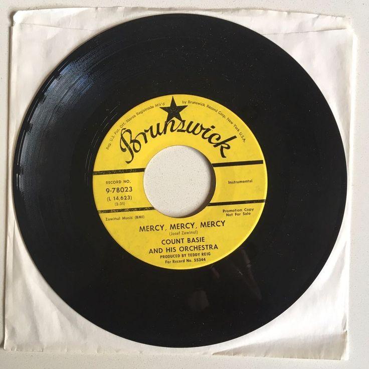 """COUNT BASIE Mercy Mercy Mercy 7"""" 1967 Brunswick 78023 PROMO soul jazz VG++ #BigBandSwingSoulJazz"""
