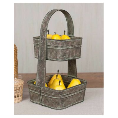 Two Tier Square Tote - Our shabby chic Two Tier Square Tote is an adorable accent for your kitchen. Use it to hold fruit and vegetables in style. Add some greenery to create a centerpiece for your table.