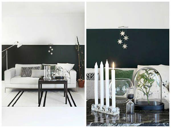 Centro de mesa con velas, para una navidad de inspiración nórdica