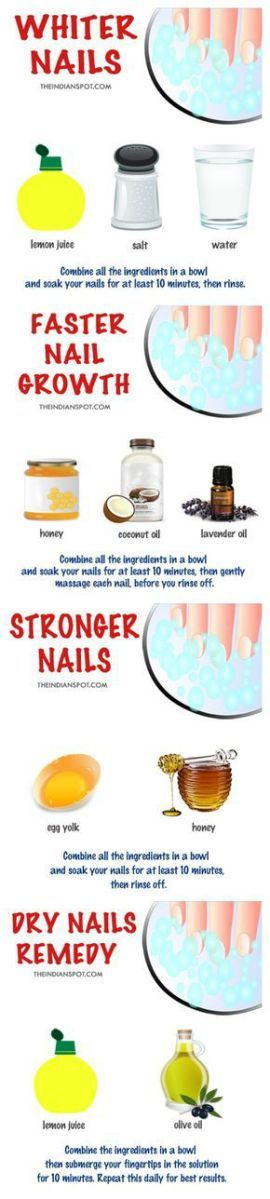 DIY NAIL SOAKS FOR BEAUTIFUL AND PERFECT NAILS DIY NAIL SOAK FOR WHITER NAILS Lemon juice is an all-around great product to treat your nails. It acts as a natural bleach against yellow stains contains Vitamin C for growth and gives you extra s
