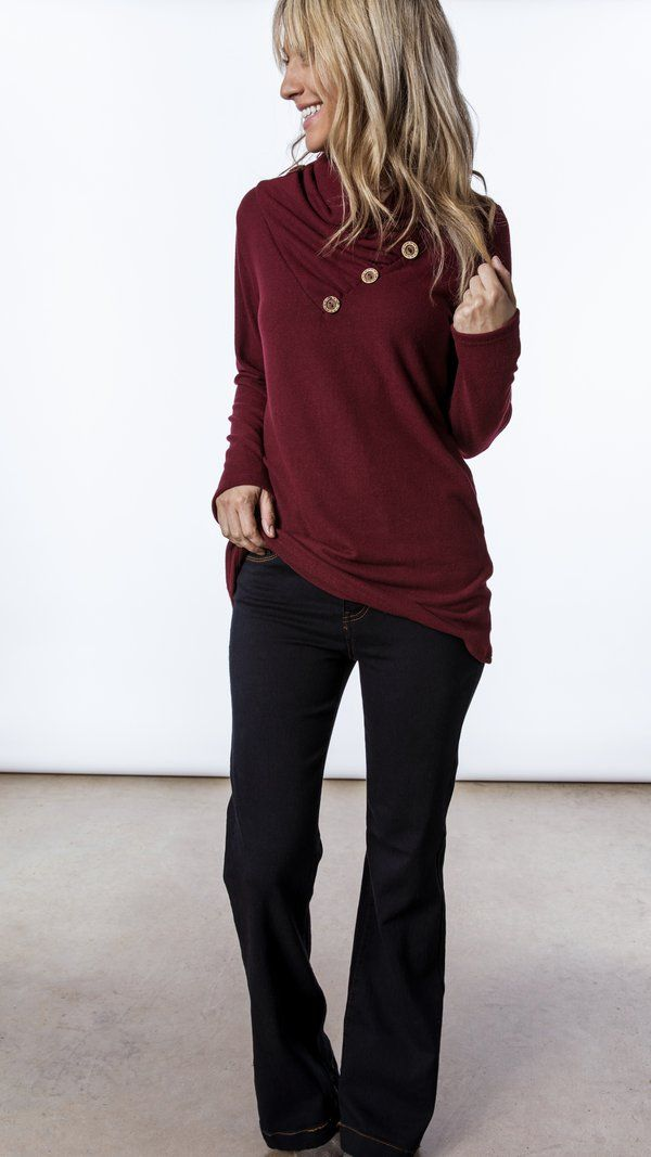 19aaf411808b burgundy soft tunic with button neck Burgundy Top