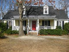 yellow house gray shutters - Google Search