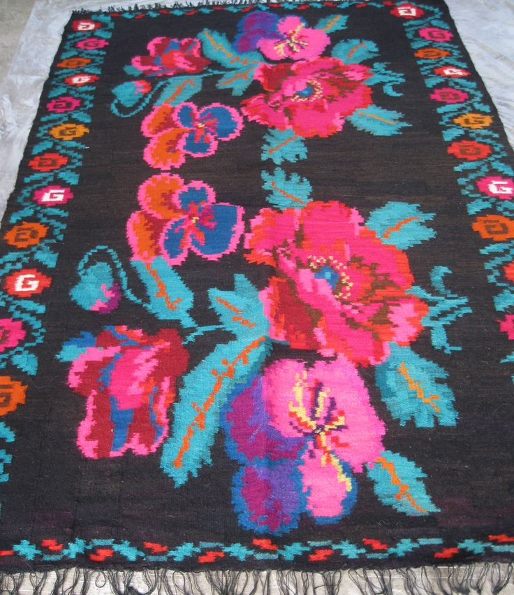 Gorgeous flat weave vintage Romanian carpet from Transylvania . Available at www.greatblouses.com