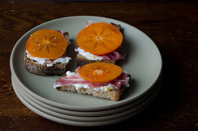 crostini with whipped ricotta, persimmon, and prosciutto by ...