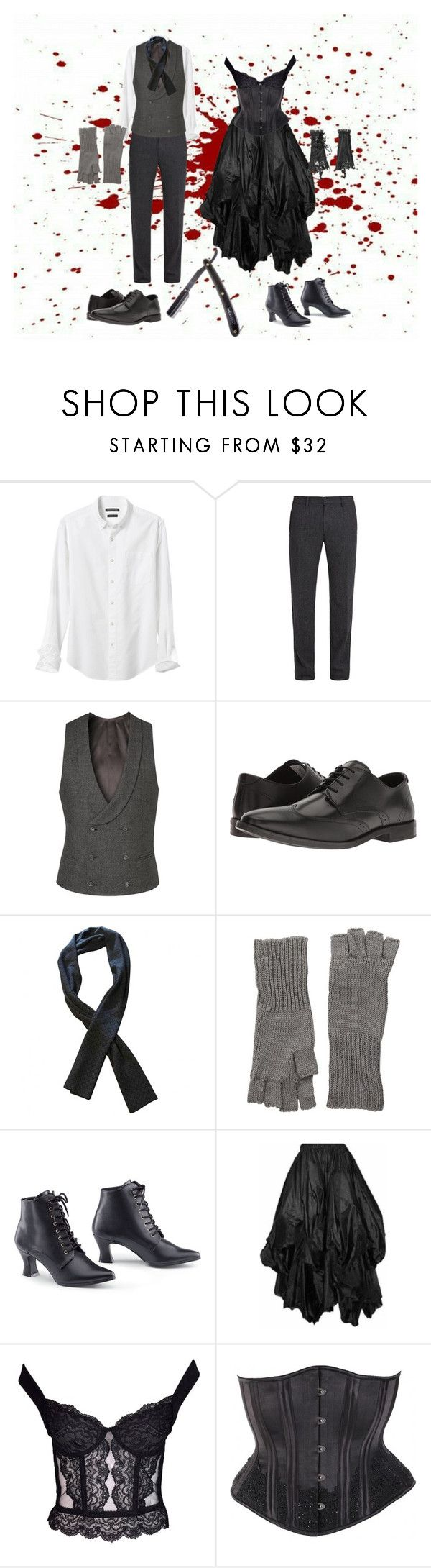 """""""Sweeney Todd & Ms. Lovett"""" by artificialsin ❤ liked on Polyvore featuring Banana Republic, Massimo Alba, Diverso, Steve Madden, Hermès, Michael Stars and Christian Dior"""