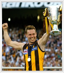 2008, Hawthorn 18.7 (115) to Geelong 11.23 (89).    Coach: Alastair Clarkson  Captain: Sam Mitchell