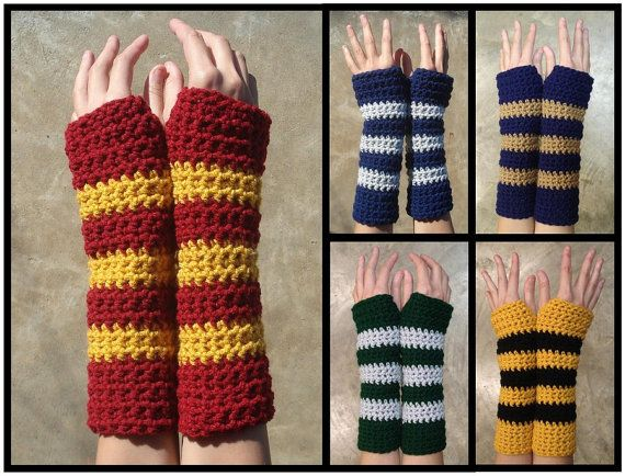 Hogwarts House Colors Influenced Armwarmers   Harry Potter crochet. i wish i had them alll! wonder if they will do a xmas swap? argness wishlist for craftster?