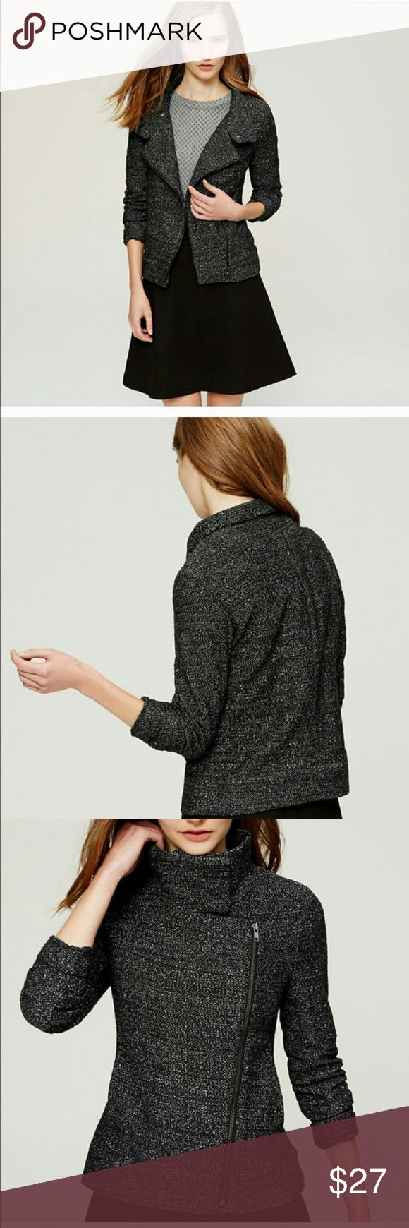 Ann Taylor Loft Marled Moto Jacket Anne Taylor Loft moto jacket size large. Would be great for work or a night out! LOFT Jackets & Coats Blazers