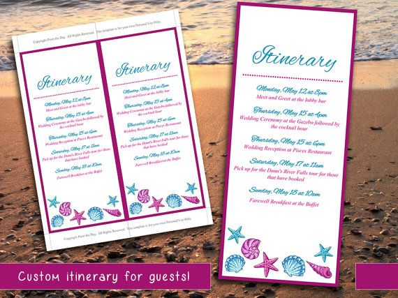 Best 25 wedding itinerary template ideas on pinterest wedding beach wedding itinerary template wedding planner fuchsia blue seashell destination wedding coordinator wedding pronofoot35fo Choice Image