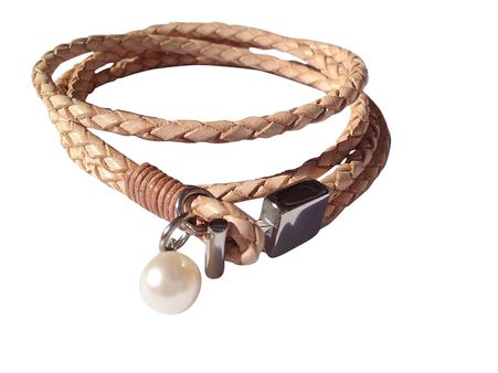 Plaited double leather wrap bracelet with stainless steel hardware and mother of shell pearl.  Approximately 19 cm.