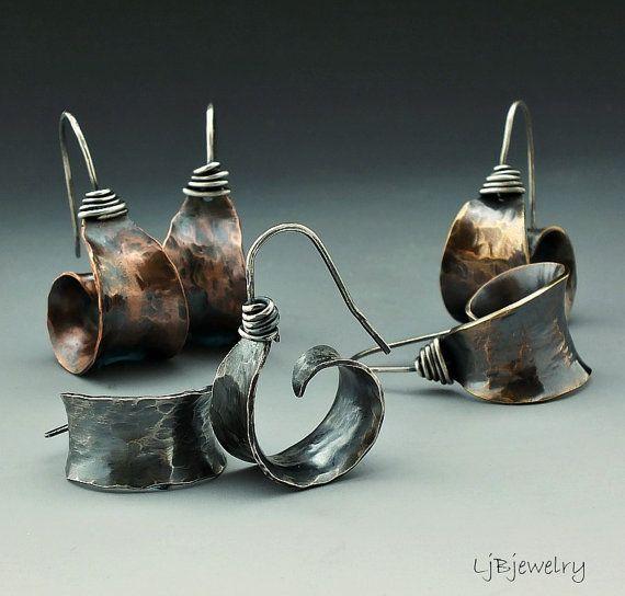 Silver Earrings Red Brass Earrings Copper Earrings by LjBjewelry
