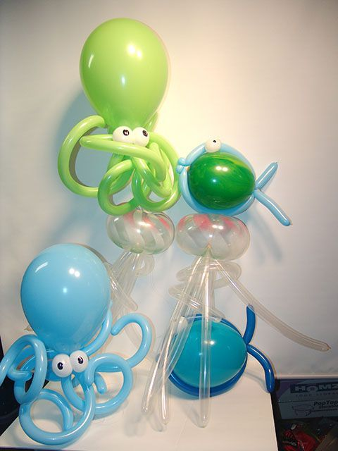 Octopus and jellyfish balloons.
