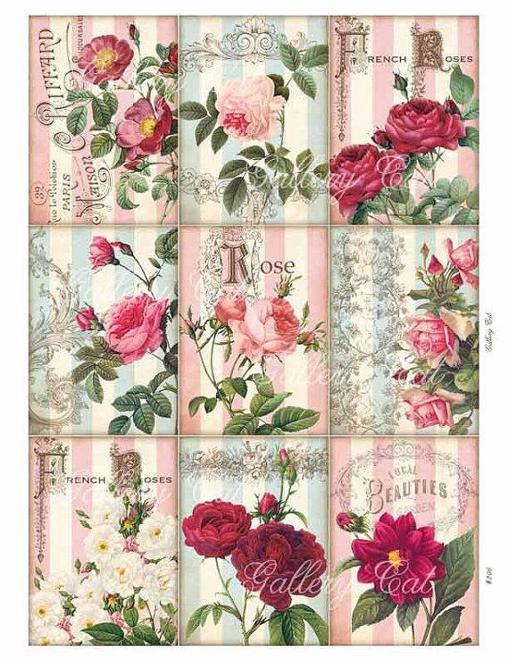 JARDÍN Collage Digital hoja imprimible de regalo etiquetas