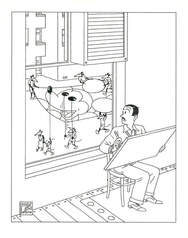 Walt Disney s'inspire d'un cortège de souris, par Joost Swarte, Disney Magazine, 2003.
