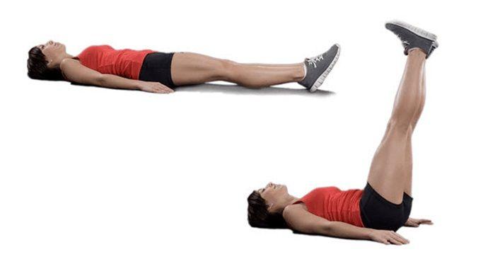 Exercício de elevação das pernas para definir a barriga