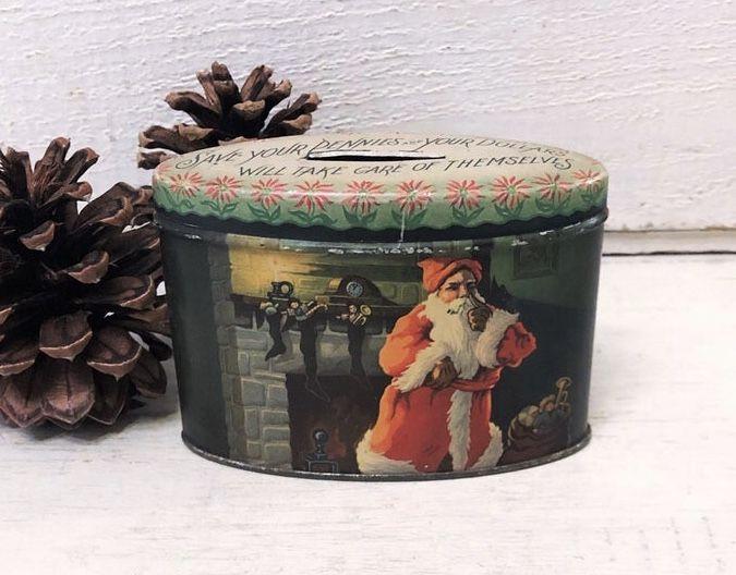 Small Rare Antique Christmas Tin Bank Money Box Santa Claus Etsy In 2020 Antique Christmas Rare Antique Vintage Tins