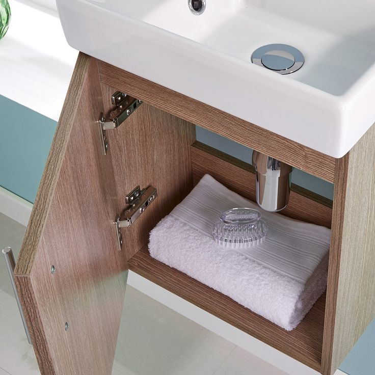 400mm Oak Minimalist Wall Hung Cloakroom Vanity Unit - Image 3
