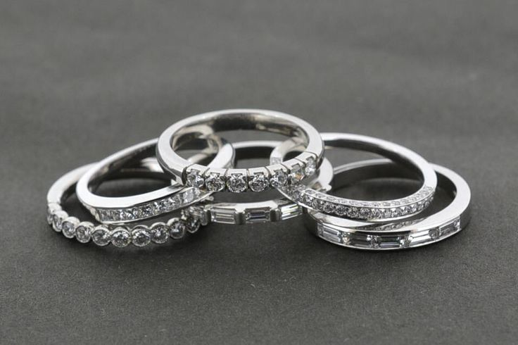 Platinum and diamond set wedding bands