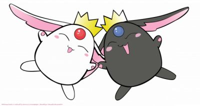 "Origins of Cute: Mokona Modoki, there always two Mokonas one white one black.  The white one first made its appearance on Magic Knight Rayearth and only said ""puu puu.""  The black one first appeared on xxxHolic and did have a voice and might have mildly been a drinker because of it's enthusiasm for sake.  They both make an appearance in Tsubasa Reservoir Chronicles where white speaks and black is only seen in a few episodes.  They also make a cameo in an episode of Kobato."