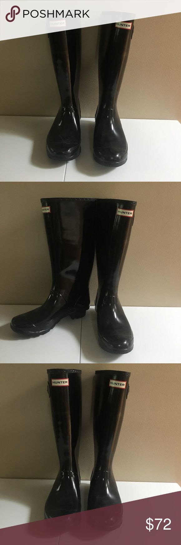 Black Original Hunter Gloss Rain Boots Black Original Gloss Hunter Boots men's size 6, women's size 7. In excellent condition. Hunter Boots Shoes Winter & Rain Boots