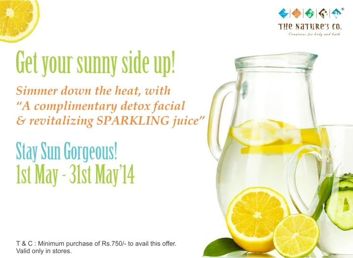 We are all looking out for is a way to simmer down this heat. Set to get in a cool wave and a fresh note to this season. Walk into the abode of nature from the 1st - 31st May, experience of rejuvenation and purification with TNC's complimentary Summer Detox Facial & revitalize yourself with sparkling juices, to boost your dehydrated and lifeless summer skin, leaving you reenergized from the sultry weather, inside out. Stay sun gorgeous The Nature's Co. way! ♥
