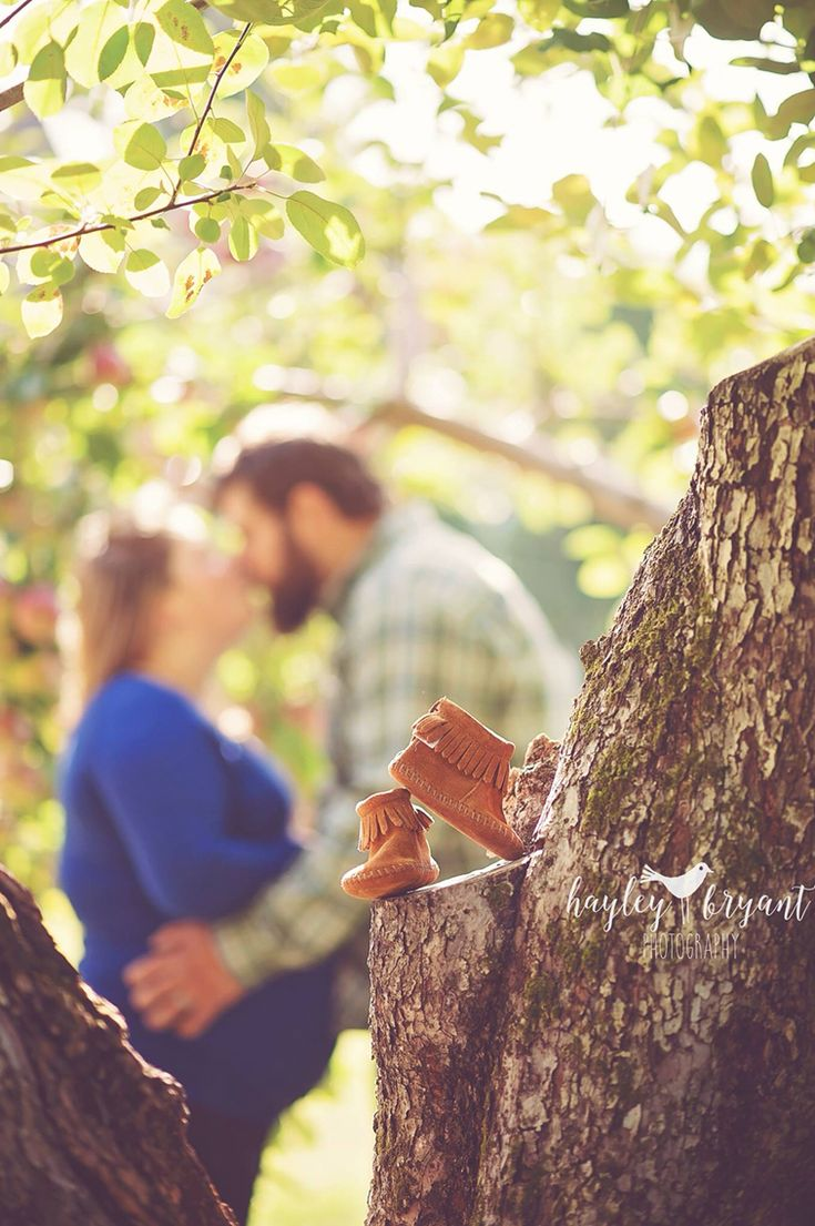 Apple orchard fall maternity picture photography with baby shoes!