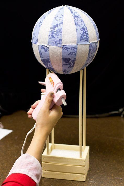 DIY: hot air balloon wedding centerpiece using Styrofoam ball and fabric