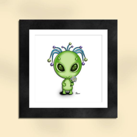 Green Alien with Flowers Art Print by SapphireMoonArt on Etsy