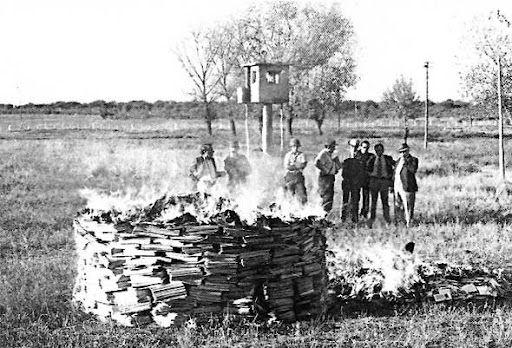 Esta fotografia que es de la quema de libros en la epoca de la dictadura militar en Argentina, representa un periodo donde no habia libertad de expresion en nuestro pais, donde estaba prohibido pensar diferente por eso elegi esta imagen.