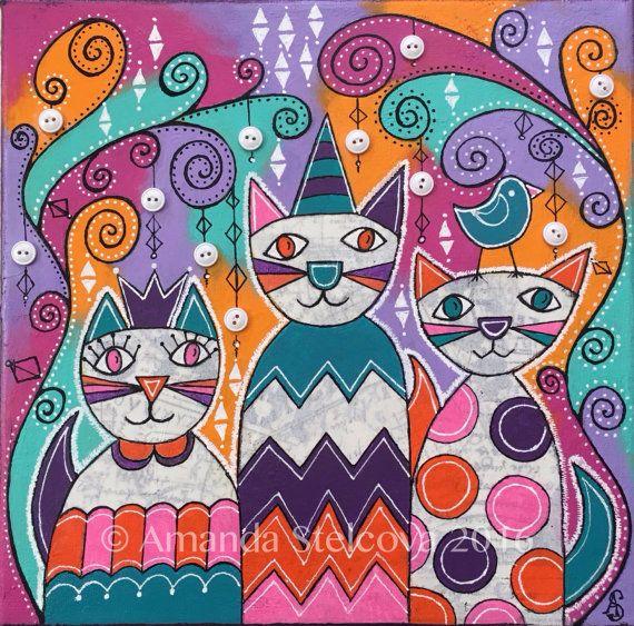 MIXED MEDIA COLLAGE  'Crazy Cats'  original by MrsButtonsEmporium
